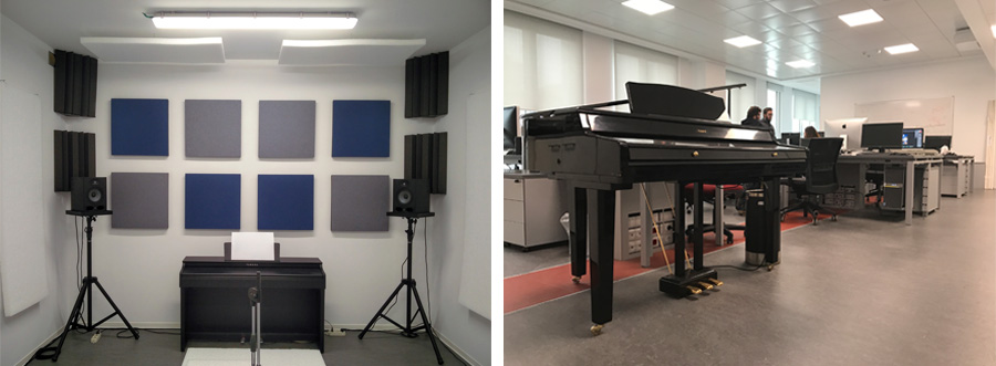 music equipment in a white room, soundproofing pads on walls