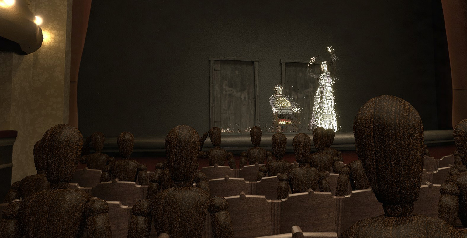 image of wooden models showing a stage i the background with two actors on it